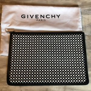 Givenchy Large Pouch Black with white studs